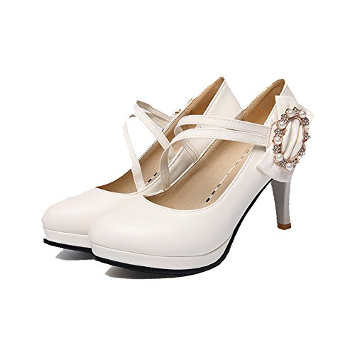 AmoonyFashion Womens Hook and Loop Round Closed Toe High Heels Pu Solid Pumps-Shoes White BkNcl