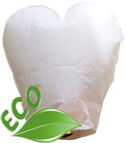 Just Artifacts Wholesale 240 ECO Wire-Free Flying Chinese Sky Lanterns (Set of 240, Wire-Free Heart, White) - 100% Biodegradable, Environmentally Friendly Lanterns!