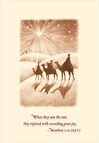 Wise Men Following Star - Designer Greetings Box of 18 Religious Christmas ()