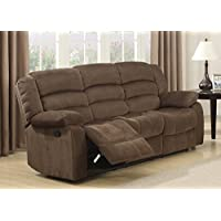 AC Pacific Bill Collection Modern Fabric Upholstered Living Room Reclining Sofa With Padded Pillow Top Armrests, Brown