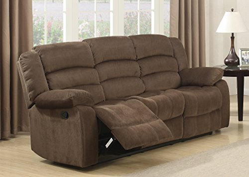 Reclining Couch (AC Pacific Bill Collection Modern Fabric Upholstered Living Room Reclining Sofa With Padded Pillow Top Armrests, Brown)