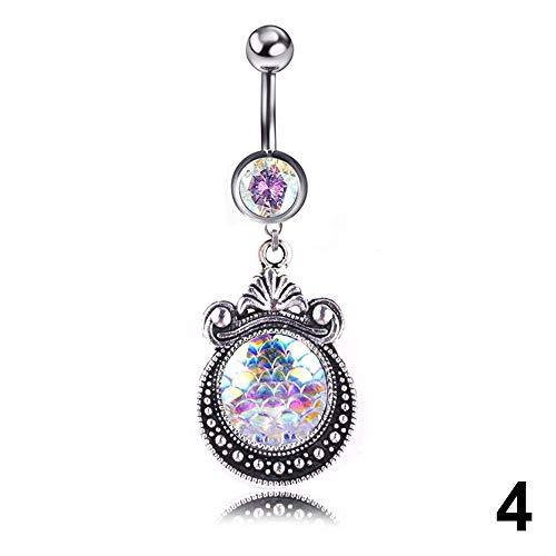 1 Pcs Navel Belly Button Ring Glitter Love Heart Mermaid Fish Scale Piercing Jewelry Navel Nail 4 (1 Cent Belly Button Rings)