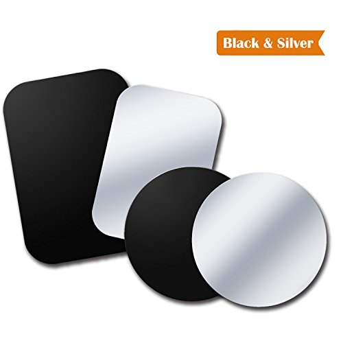 Black Metal Plate - Tryone Metal Plate, Metal Disc Replacement with Strong Adhesive for Magnetic Car Mounts, 2 Rectangle and 2 Round - Black&Silver - No Logo or Hole
