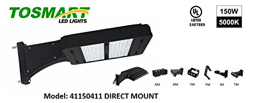 LED Street Light 150 Watt Parking Lot Pole Parking Area Light, Industrial Efficient, Waterproof, Direct Wire, Shoebox Pole Light, Head Replacement, 5 Year Warranty ToSmart Brand (Direct Mount Bracket) by ToSmart LED Lighting Technology