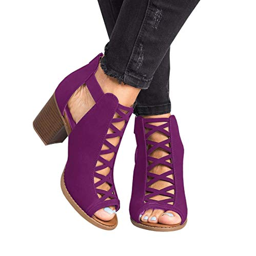 Ermonn Womens Open Toe Heeled Sandals Buckle Strap Chunky Stacked High Heel Ankle Booties Purple ()