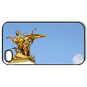 Paris monument The Pont Alexandre III in Golden statue - Case Cover for iPhone 4 and 4s (Monuments Series, Watercolor style, Black) by lolosakes