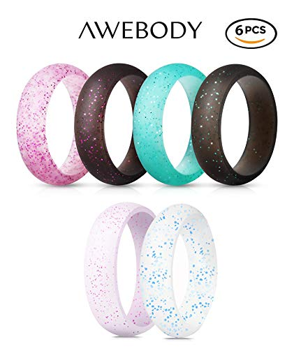 Brellavi Awebody Silicone Rings for Women, Glitter Silicone Wedding Rings for Women, Premium Quality & Glitter Silicone Rings, Best Silicone Rings for Women in 2019, 6 Pack, Size 7