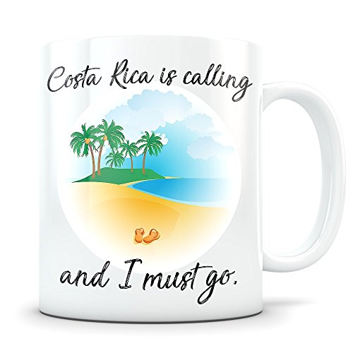 Costa Rica Souvenir - Beach Vacation Themed Gift for Women and Men Who Travel - I Love Costa Rica Coffee Mug for Snowbirds, Travellers, or Expats