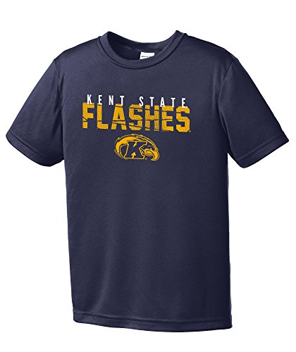 NCAA Kent State Golden Flashes Youth Boys Destroyed Short sleeve Polyester Competitor T-Shirt, Youth -