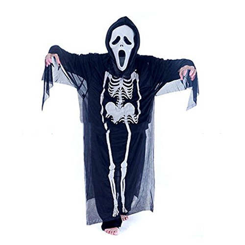 Spirit Caveman Costume (JUNGSON--Scary Ghost Skull Face Mask Skeleton Party Halloween Cosplay Costume Fancy Dress)
