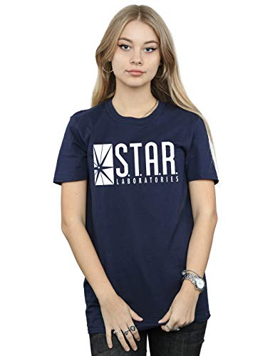 boyfriend Mujer Labs Dc Azul Star The Comics marino estilo Camiseta Flash q51nTfC