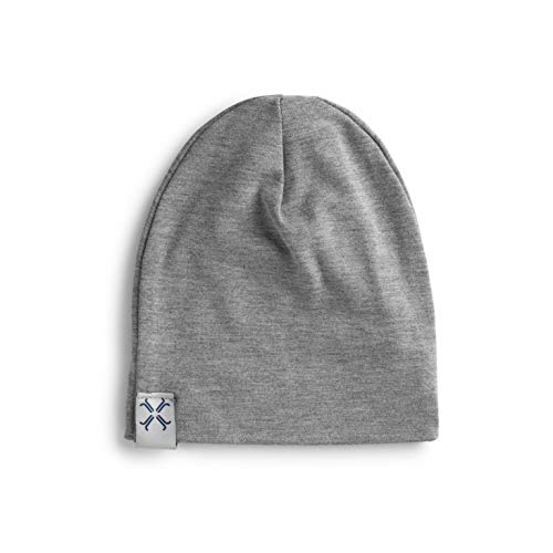 (Jacqueline & Jac Heather Gray Newborn Baby Beanie Hat- Natural Cotton Blend. Ideal Unisex Gift for Baby Girl and Boy (Heather Gray, 0-3 Months) )