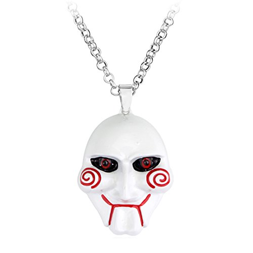Saw Billy Jigsaw Necklace Mask Halloween Horror Movie Killer Doll Pendant Necklace 3 Styles w/Gift Box by Dan's Collectibles and More (White) -