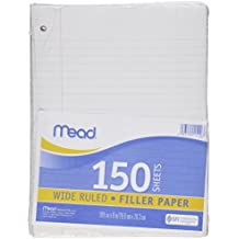 "Mead Filler Paper, Loose Leaf Paper, Wide Ruled Paper, 150 Sheets, 10-1/2"" x 8"", White (15103)"