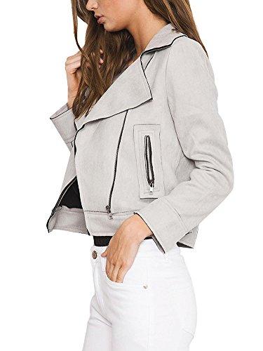 Jacket Manteau Faux Vintage Simplee en Douche Femme Sud Apparel Blouson Motard Veste Dcontract Zipp Gris Cuir Revers YYB7gqz