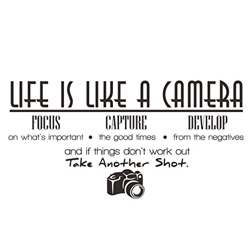 IUNEED Life Is Like A Camera Wall Sticker Wall Decal Home Decor Quote Vinyl Room Life Like Home Accent