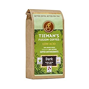 Tieman's Fusion Coffee, Low Acid Dark Roast, Whole Bean, 10-Ounce bag