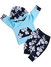 Newborn Baby Girl Clothes Long Sleeve Hoodie Sweatshirt Top +Kangero Pocket +Floral Pant Valentine's Day Heart...
