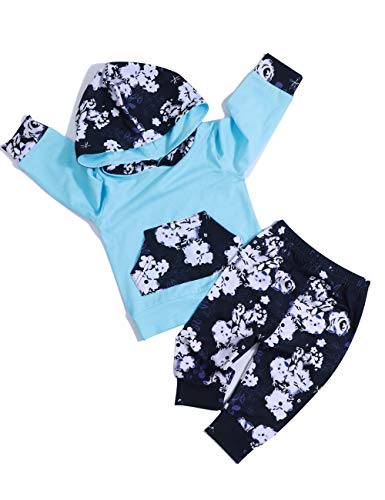 itkidboy Baby Girl Clothes Long Sleeve Hoodie Sweatshirt Floral Pants with Headband Outfit Sets