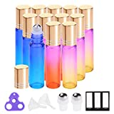scentfree Essential Oil Roller Bottles by PrettyCare (12 Pack Rainbow Color Glass Bottle 10ml, 24 Pieces Labels, 2 Extra Roller Balls, Opener, 2 Funnels) Roller Balls for Essential Oils, Roll on Bottles