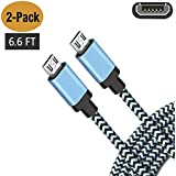 "Android Charging Fast Charge Micro USB Charger Cord  6FT 2Pack Cable for Samsung Galaxy S6 S7 J3 J7 Edge note 5 Moto Droid Turbo LG G4 V10 Stylo 2 3 HTC One Kindle Fire Tablet HD,HDX 6"" 7"" 8.9"" 9.7"""