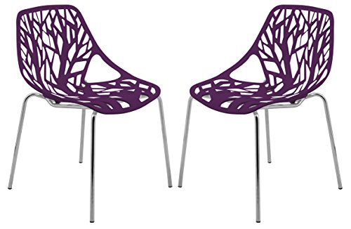 LeisureMod Forest Modern Dining Chair with Chromed Legs, Set of 2 (Purple)