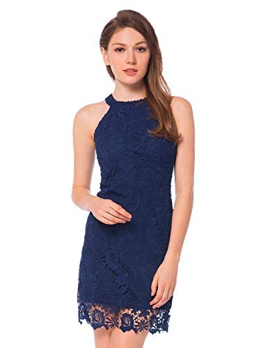 ccd83632f1cc3f Home Brands Wedding Party Lamilus Women s Casual Sleeveless Halter Neck  Party Lace Mini Dress
