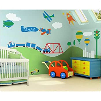 My wonderful walls wall stencils for boys room for Car themed kitchen