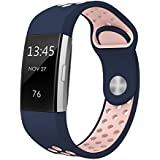 """Swees For Fitbit Charge 2 Bands Sport Silicone Small & Large (5.7"""" - 8.3""""), Replacement Breathable Sport Bands with Air Holes for Fitbit Charge 2 Women Men, Black, Grey, Navy Blue, Pink, White, Teal"""