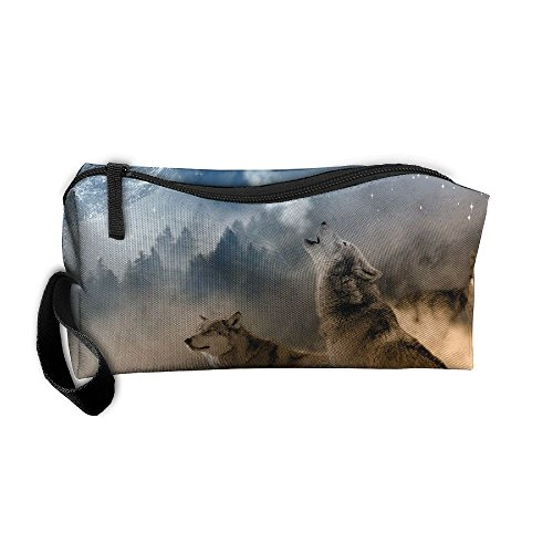 Three Wolves Howling Cosmetic Bags Brush Pouch Makeup Bag Zipper Wallet Hangbag Pen Organizer Carry Case Wristlet Holder -