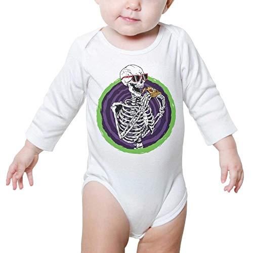 WSEDRF Cool Skull Pzza Long Sleeves UK Baby Onesie]()