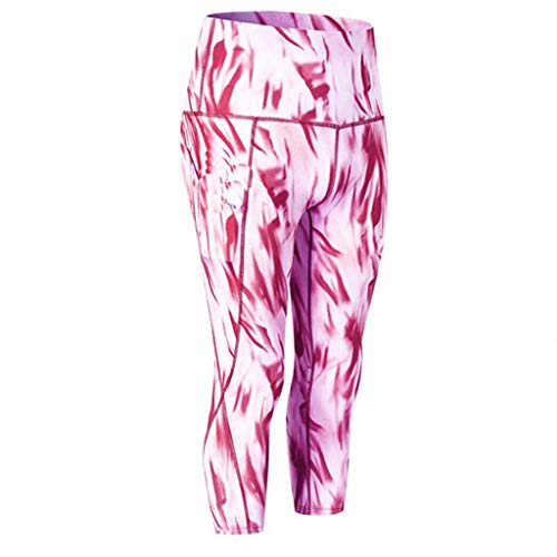 LiLiMeng Ladies Cloud Printed High Waist Fitness Skinny Slim Elastic Yoga Pants Sleeping Pockets Cropped Trousers Pink