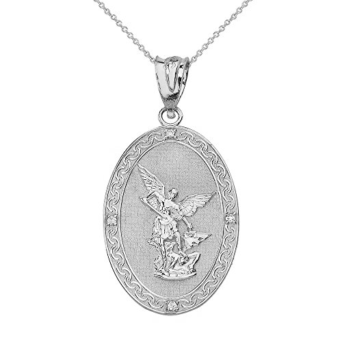 Sterling Silver Saint Michael The Archangel CZ Oval Medal Necklace (1