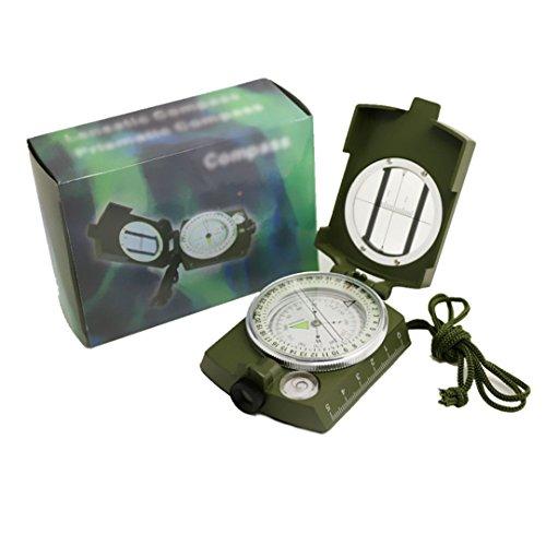 Meliya multifonctionnel militaire Armée en alliage de zinc de visée Boussole Cadeau avec étui étanche pour activités de plein air Vert