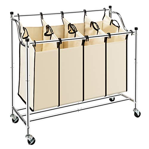 (Bonnlo 4-Bag Heavy-Duty Laundry Sorter Cart Rolling Divided Laundry Sorting Cart with Removable Bags and Brake Casters)