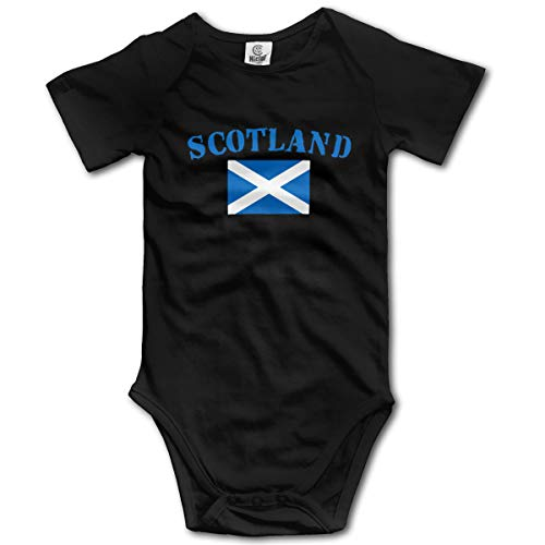 Scotland Flag Baby Unisex Short Sleeved Bodysuit Infant Cotton Crew Neck Romper Jumpsuit Outfit Onesies Black