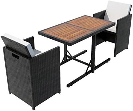 vidaXL Set Tavolo e Sedie da Giardino 7x in Polyattan Nero Tavolino Seggiole