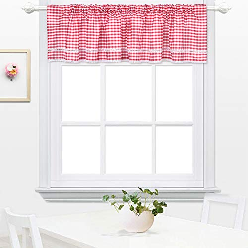 (DOKOT Buffalo Check Plaid Gingham Country Kitchen Curtain Tier and Valance with Lace Crochet Border, 12 x 60 inch,)