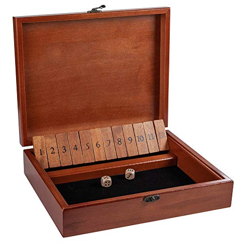 WE Games Shut the Box Game with 12 Numbers in an Old World Styled Wood Box with a Lid and a Brass Latch ()