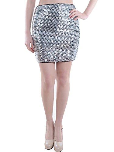 Silver Sequin Mini Skirt (Anna-Kaci Womens Sequin Mini Skirt Bodycon Glittery Vegas High Waist Skirt, Silver, X-Large/XX-Large)