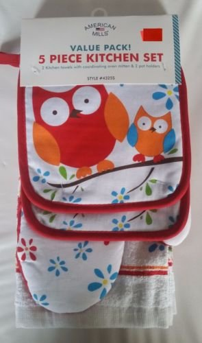 The Pecan Man Coulple Owl Everyday Kitchen Set of 5, 2 POT HOLDERS, 1 OVEN MITT & 2 TOWELS