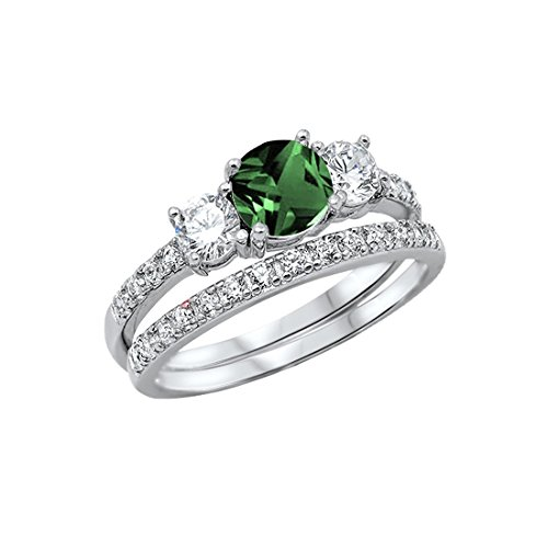 Blue Apple Co. 3-Stone Wedding Bridal Set Ring Band Round Simulated Emerald 925 Sterling Silver, Size-7