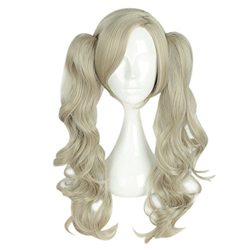 (Anne Takamaki Wig Persona 5 Cosplay Golden Ponytails Anime Hair Accessories Props)