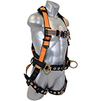 Warthog MAXX Construction Full Body Harness with Tongue Buckle Legs, Side D-Rings and Belt(S-M-L)
