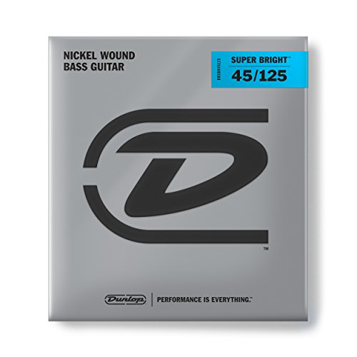 Dunlop DBSBN45125 Super Bright Bass Strings, Nickel Wound, Medium, .045-.125, 5 Strings/Set