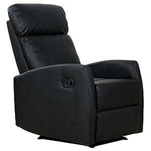 Homcom Fauteuil de Relaxation inclinable 180° avec Repose-Pied Ajustable P.U Noir
