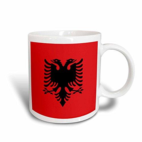 3dRose mug_159836_1 Flag of Albania Albanian Black Double Headed Eagle on Red Balkans Eastern Europe European World Ceramic Mug, 11-Ounce