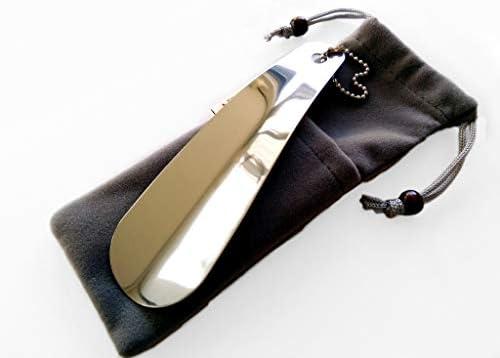 JinMeiEr 携帯用ステンレス靴べら 16cm 収納袋付き