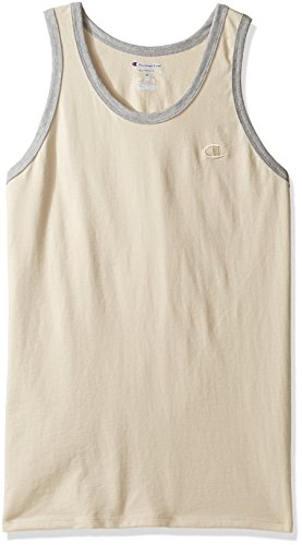 Champion Men's Classic Jersey Ringer Tank Top, Puddy Sand/Oxford Gray Heather, XL
