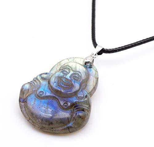 NATURSTON Gemstone's Tibetan Happy Buddha Pendant Necklace Natural Labradorite Handmade Religious Jewelry ()